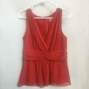 EVA MENDES Red Sleeveless Blouse Size Small